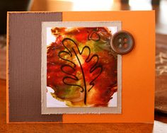 Fall card using acetate and tissue technique.