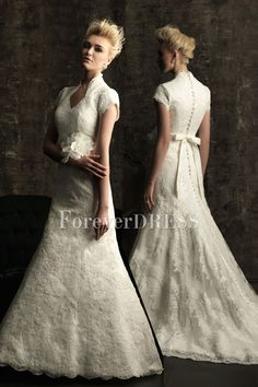 Fancy A-line Wedding Dress with Lace Applique Bodice and Short Sleeves. #long #fashion #beautiful