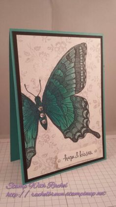 Stampin up swallowtail butterfly stamp and I love lace background stamp. Coloured with blendabilities.