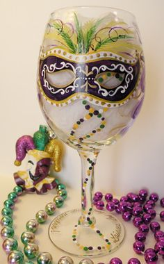 mardi gras painted wine bottle | ANY OF THESE DESIGNS ON WINEGLASS, PILSNER