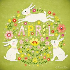 Shamefully late - here comes April! Easter Illustration, Scandinavian Folk Art, Motifs Animal, Months In A Year, Spring Months, 12 Months, Pretty Pictures, Illustrators, Iphone Wallpaper