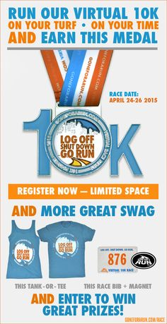 Gone For a Run is hosting a Virtual 10k! Sign up and run anywhere! Earn your bling!