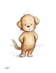 Pencil and Watercolor Drawing of Puppy - Nursery Picture - Nursery Art - Baby Gift - Puppy - Wall De Cute Bear Drawings, Cartoon Drawings Of Animals, Animal Sketches, Puppy Nursery, Nursery Art, Watercolor Drawing, Watercolor Animals, Baby Animals, Cute Animals