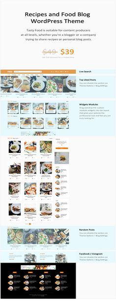Limited time offer - $39 instead of  $49, get it now, while the offer stands! Food, photos, passion and recipes -that's all you need for a food blog! Oh, and this great theme to combine all the elements above into a well-oiled cooking machine! #food #blog #design #love #showcase #passion #photos