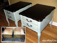 a few of my recent furniture transformations before afters, chalk paint, painted furniture, Old thrift store nightstands end tables 15 for the pair Completely sanded and refinished the tops painted base with 2 paint technique