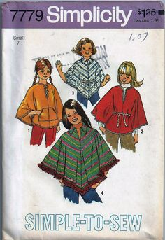 Uncut Vintage 1970s Poncho Pattern Simplicity 7779 Girls Size Small 7 Circa 1976 #Simplicity