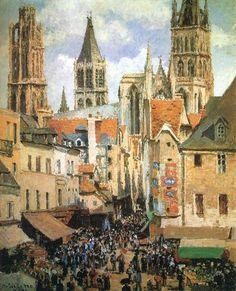 Camille Pissarro「Rue de l'Épicerie, Rouen(Effect of Sunlight)」(1898)