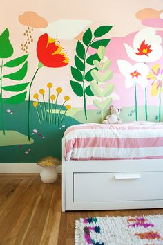 ❤❤❤ painted wall mural in kids' bedroom by Audrey Smit from This Little Street ❤❤❤