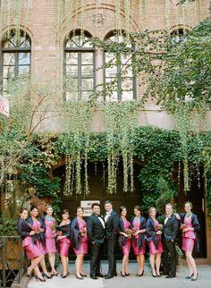 A glam wedding party: http://www.stylemepretty.com/little-black-book-blog/2015/01/07/elegant-new-york-city-wedding/ | Photography: Rebecca Yale - http://www.rebeccayaleportraits.com/