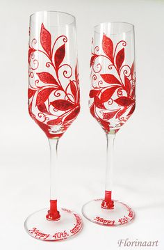 Together for 40 years! This is Ruby Anniversary! Whether you are the lucky couple celebrating your anniversary or you have been invited to a wedding anniversary party these glasses are perfect gift for that occasion Each of them can be perso. Ruby Wedding Anniversary Gifts, Second Anniversary Gift, Homemade Anniversary Gifts, Anniversary Decorations, Anniversary Jewelry, Anniversary Ideas, Wedding Gifts, Wedding Decorations, Wedding Wine Glasses