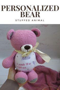 Personalized bear, stuffed animal, crochet toys, crochet bear, custom teddy bear, bear plush toy, baby toys handmade, personalised bear