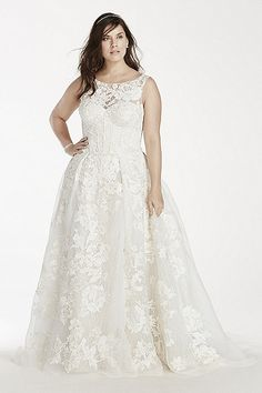 NEW! - Oleg Cassini Tank Lace Ball Gown with Beaded Applique Style 8CWG658 - Plus Size and has pockets