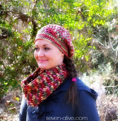 Raspberry Cowl and Hat
