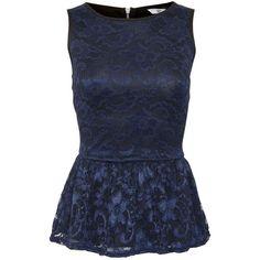 Black Lace Zip Back Peplum Sleeveless Top ($16) ❤ liked on Polyvore