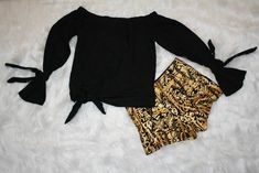 Black and Gold Shorts~ $14   These black and gold classy shorts will look amazing at any gathering!  Fashioned with side zipper closure Would look great with heels, flats, or boots