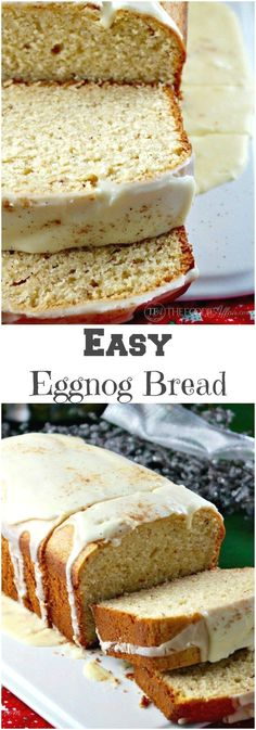 Eggnog Bread topped with a flavorful glaze makes a delicious…