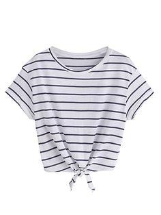 ROMWE Damen Gestreift Crop Top Kurzarm Streifen Shirt Weiß S  Amazon.de   Bekleidung c96933a196