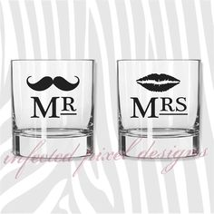 Mr. Mrs. 'Stache & Lips Wedding Gift Set Rocks Glasses - Your Choice of Color on Etsy, $20.50