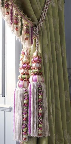 Duchesse Collection - Ornately decorated using florets, beads and twists. Design Is Inspired By Everything Pelmets, Textured Yarn, Beautiful Curtains, Drapery Hardware, Passementerie, Curtain Tie Backs, Luxury Decor, Curtains With Blinds, Interior Styling
