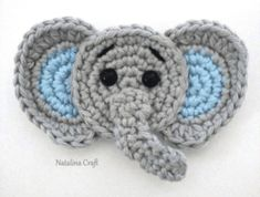 Free Crochet Pattern: Elephant Appliqué - Natalina Craft You will find here an easy and free pattern to make this cute elephant appliqué. It is the perfect addition to a baby blanket for instance! Crochet Elephant Pattern Free, Crochet Applique Patterns Free, Elephant Applique, Crochet Bear, Crochet Patterns Amigurumi, Free Crochet, Free Pattern, Crochet Appliques, Crochet Birds