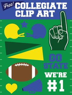 Free Collegiate University Football Vector Clip Art