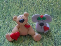 Polymer Clay Bear and His Buddy the Mouse SET of by ClayBabiesInc