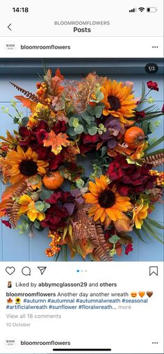 Fall Decor, Wreaths, Autumn, Home Decor, Decoration Home, Door Wreaths, Fall Season, Room Decor, Autumn Decorations