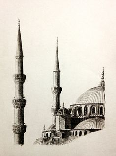 Drawing of the Blue Mosque (in Istanbul, Turkey) by John Gordon (2013, graphite)
