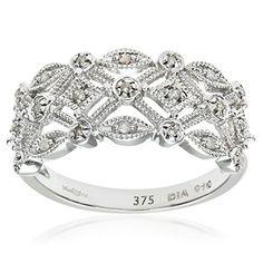 Naava Women's Diamond Ring, 9 ct White Gold Ornately set with White Diamonds Black Diamond Bands, Diamond Rings, Branded Gifts, Antique Rings, Jewelry Rings, Jewellery, White Gold, Engagement Rings, White Diamonds
