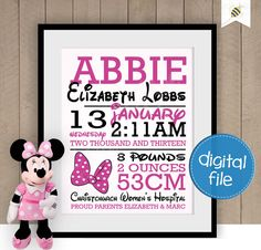 Minnie Mouse themed Baby Girl Keepsake - digital item on Etsy, $14.13