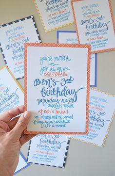 Green Fingerprint: DIY hand-lettered invitations