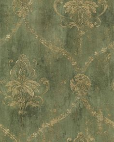 Gold Lattice and Floral Damask on Distressed by Handcrafted360