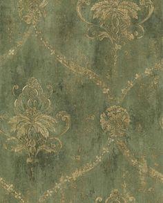 Gold Gitter und Floral Damast auf Distressed von WallpaperYourWorld