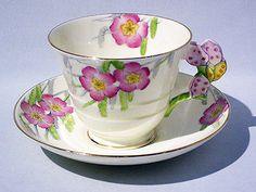 Rare Paragon PRIMROSE Figural CACTUS FLOWER HANDLE Cup & Saucer 1933-34 MINT