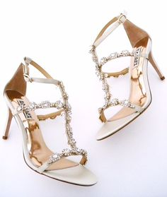 Glamorous beaded wedding sandals that redefine walking down the aisle. Gorgeous shoes for the bride by Badgley Mischka.