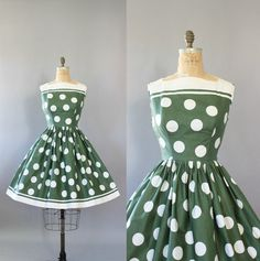 Vintage 50s Dress/ 1950s Cotton Dress/ Green by WhenDecadesCollide