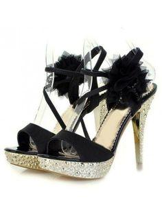 In-line Buckle Flower Spiked Metallic Stiletto Sandals