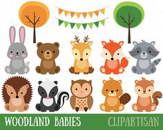 Woodland baby animals clipart from woodland animals baby shower. Party Animals, Animal Party, Cute Baby Animals, Forest Animals, Woodland Animals, Jungle Animals, Clipart Photo, Clipart Baby, Tier Wallpaper