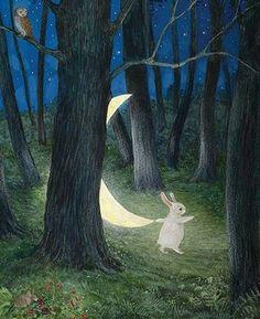 Illustration Moon When the Moon Came Down Feridun Oral, 2014 Art And Illustration, Pretty Art, Cute Art, Lapin Art, Arte Peculiar, Rabbit Art, Bunny Art, Fairytale Art, Wow Art