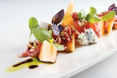 Fine Dining Salads | Prosciutto melon gorgonzola salad at Mereday's Fine Dining on Naples ...