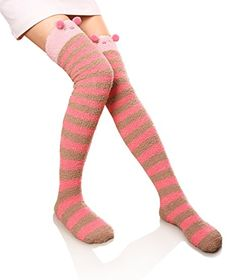 ad0e8d3b4 DoSmart Womens Soft Warm Knee High Stockings Animal Stripe Fuzzy Socks  (Cat) at Amazon Women s Clothing store