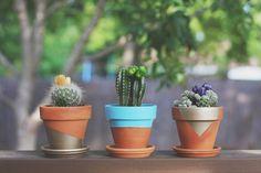 déco de jardin faite maison- pots en terre cuite décorés de peinture