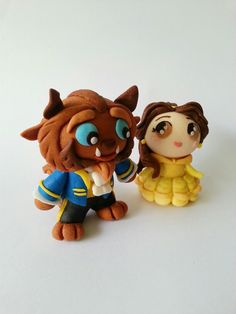 Disney beauty and the beast fondant cake topper