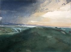 Ian Potts Artist: The reward and the struggle watercolour Watercolor And Ink, Watercolor Paintings, Watercolours, Traditional Paintings, Landscape Art, Gouache, Clouds, Sky, Artist