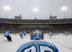 Goaltender Ty Conklin of the Pittsburgh Penguins watches his team warm up  before taking on the Buffalo Sabres in the NHL Winter Classic on January  2008 in ... 4dee509ab