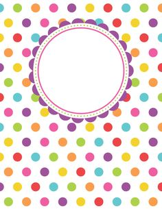 Free printable polka dot binder cover template. Download the cover in JPG or PDF format at http://bindercovers.net/download/polka-dot-binder-cover/