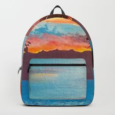 The Beautiful Key West Sun is captured in this ocean sunset painting Backpacks by ANoelleJay | Society6 Fabulous and bright by @anoellejay @society6 back to school solutions
