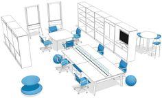 No Workshop (5), local para gerar novas ideias e que deve oferecer mobiliário para o uso com diversas posturas e interação com tecnologias analógicas e digitais