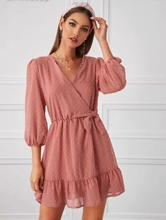 To find out about the Swiss Dot Knot Side Ruffle Hem Dress at SHEIN, part of our latest Dresses ready to shop online today! Girls Fashion Clothes, Girl Fashion, Fashion Dresses, Clothes For Women, Cute Dresses, Casual Dresses, Short Dresses, Summer Dresses, Dresses With Sleeves