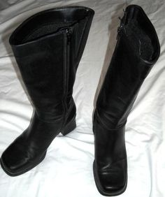 Bastien Tall Black Leather Boots Size 8.5 M Free Shipping Price:US $40.00